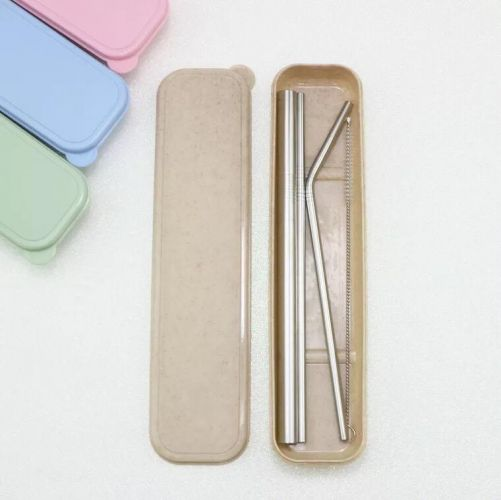 Eco-Friendly Stainless Steel Straw Set in Wheat Box
