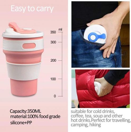 ECO-fans Leakproof Silicone Retractable Coffee Mug
