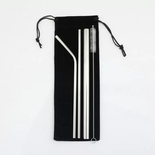 Eco-Friendly Stainless Steel Straw Set in Velvet Pouch